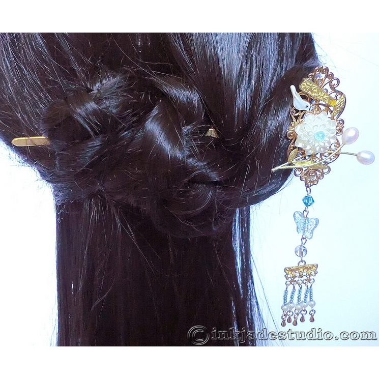Chinese Bird, Lotus and Ruyi Hair Stick Hair Pin With Freshwater Pearls