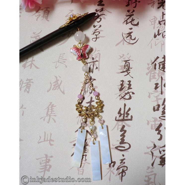 Golden Filigree Flower Wooden Chinese Hair Stick with Rose Quartz