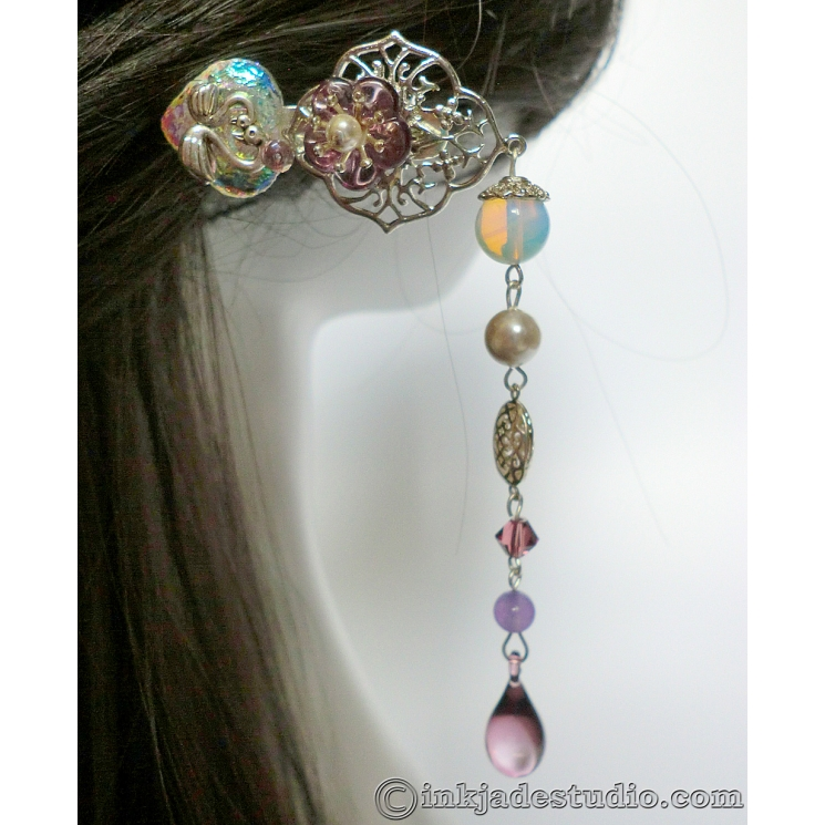 Silver Filigree Hair Stick with Iridescent Glass Heart, Swans and Opal