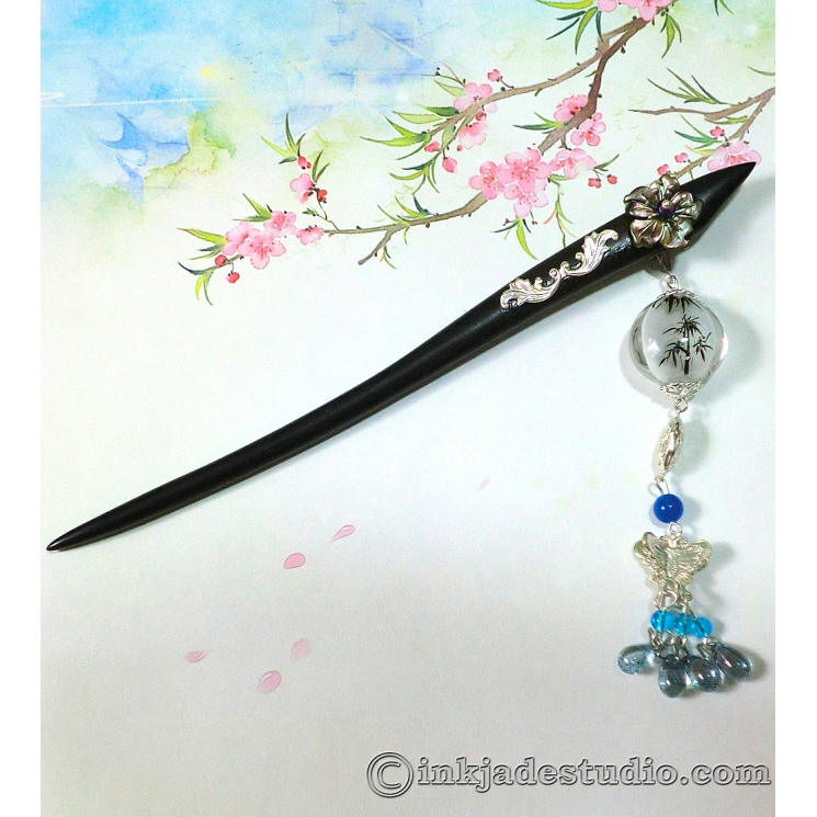 Handpainted Inner-painting Bamboo Glass Bead Chinese Hair Stick