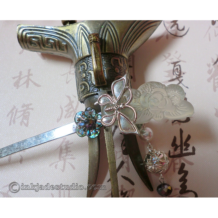 Carved Jade Peony Chinese Hair Stick with Abalone Shell Flower