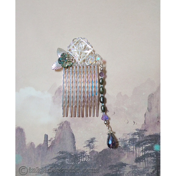 Small Silver Chinese Comb With Carved Abalone Shell and Freshwater Pearls