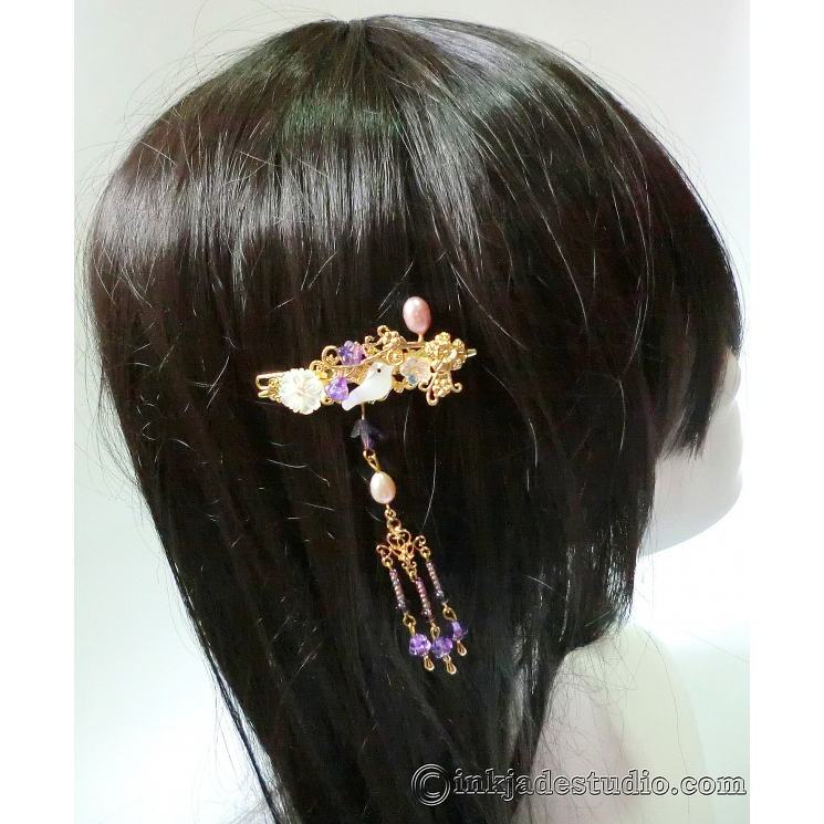 Small Carved Shell Bird and Flower Hairclip with Lavender Freshwater Pearls