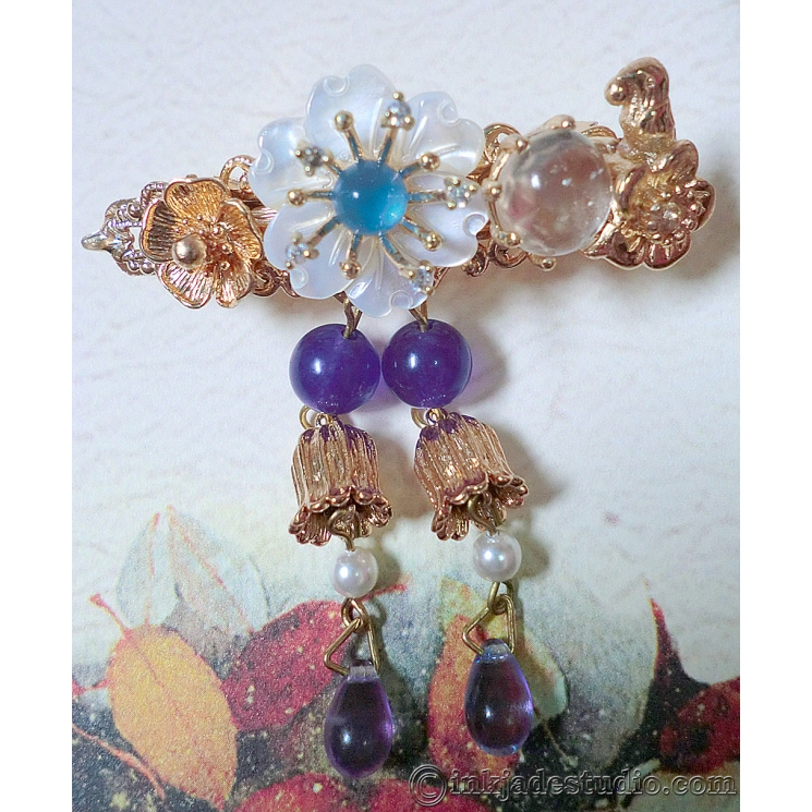 Small Albite Cabochon, Blue Agate and Amethyst Hair Clip