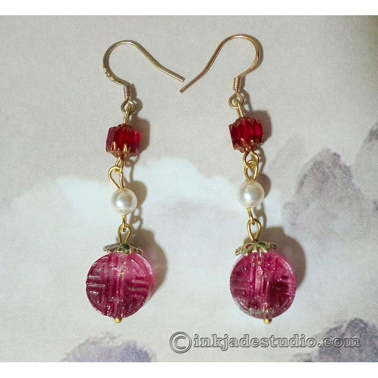 "Rose Red Chinese Character ""Lu"" Glass Bead Earrings with Swarovski Pearls"
