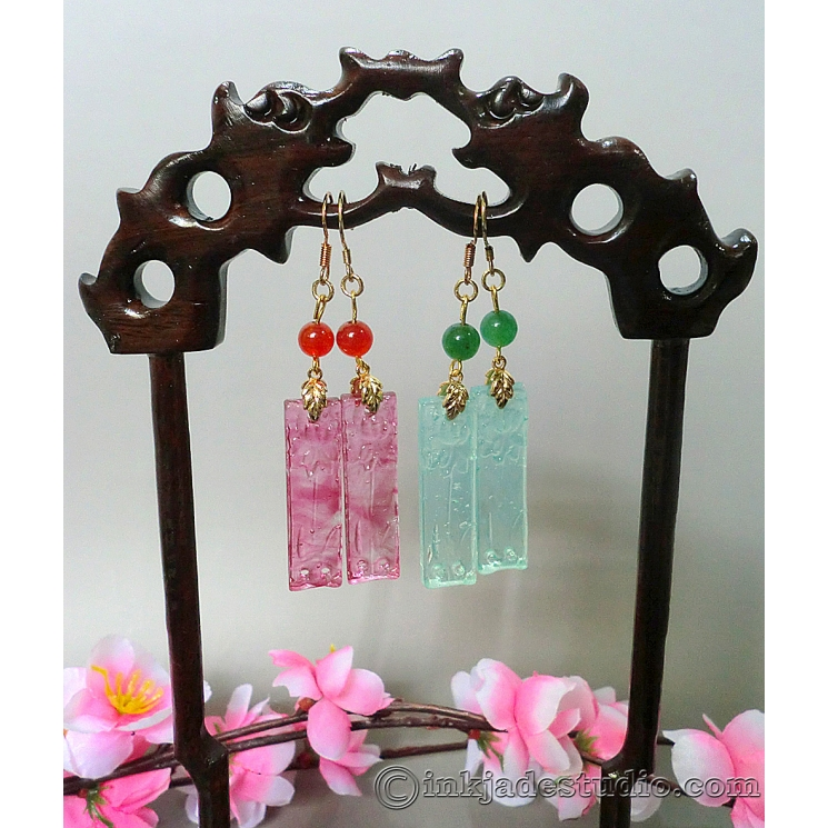 Handmade Glass Lotus Plaques Chinese Earrings