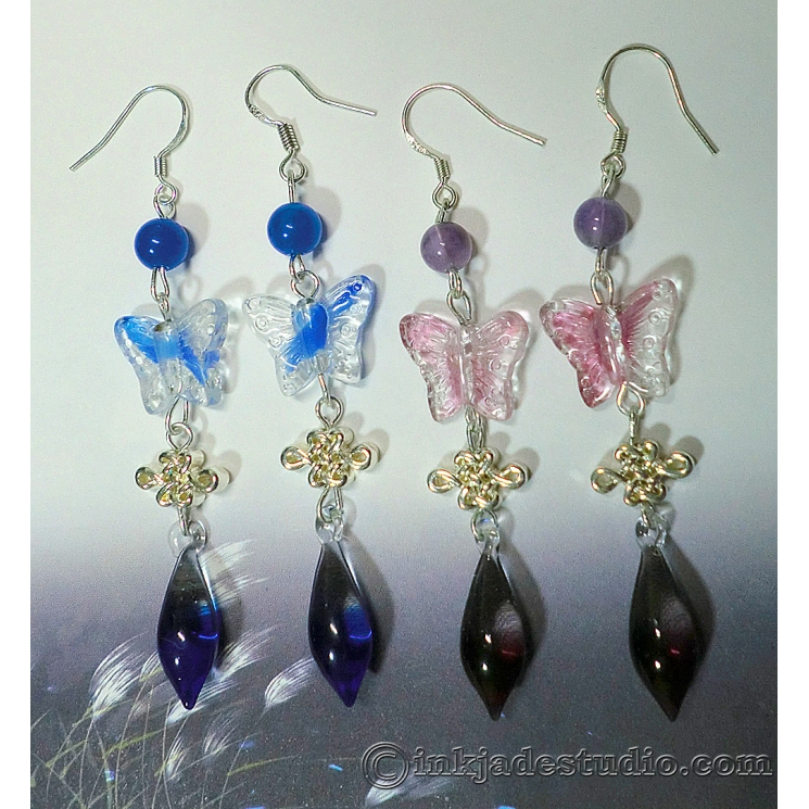 Butterfly and Silver Chinese Knot Glass Color Gradient Teardrop Earrings