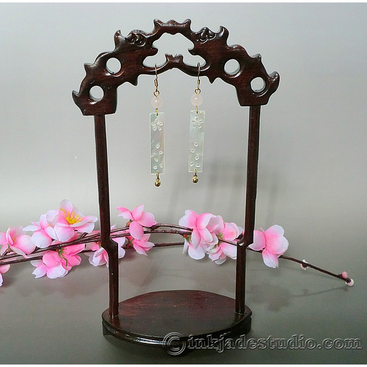 Cherry Blossom Carved Shell Mother of Pearl Plaque Chinese Earrings with Rose Qu