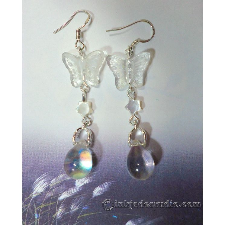 Glass Butterfly and Cute Carved Mother of Pearl Shell Star Silver Earrings