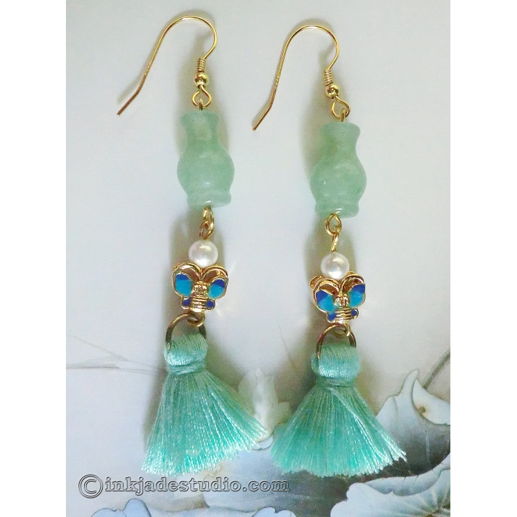 Green Aventurine Chinese Vase Earrings with Cloisonne Butterflies