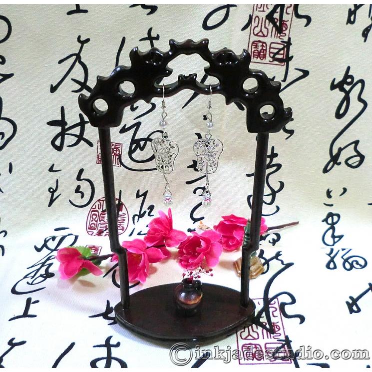Chinese Silver Filigree Carved Fan Earrings