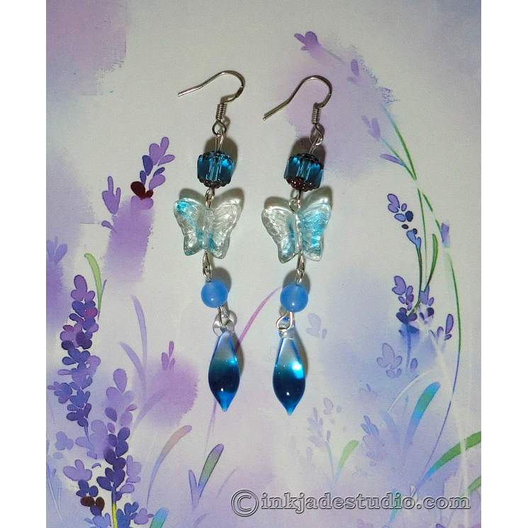 Blue Glass Butterfly Earrings with Gradient Teardrops