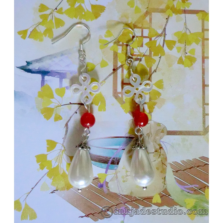 Carved Chinese Knot Shell Earrings with Red Agate and Pearl Drops