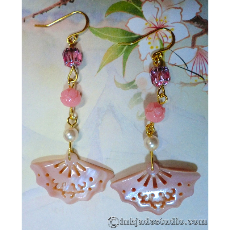 Pink Carved and Pierced Mother of Pearl Shell Fan Earrings