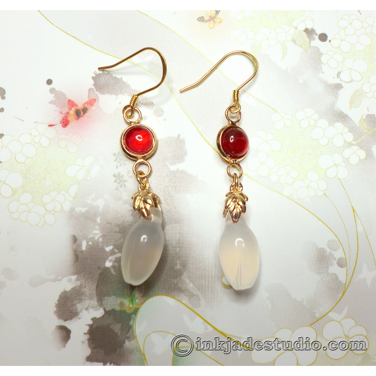 White Agate Chinese Magnolia Bud Earrings with Red Agate