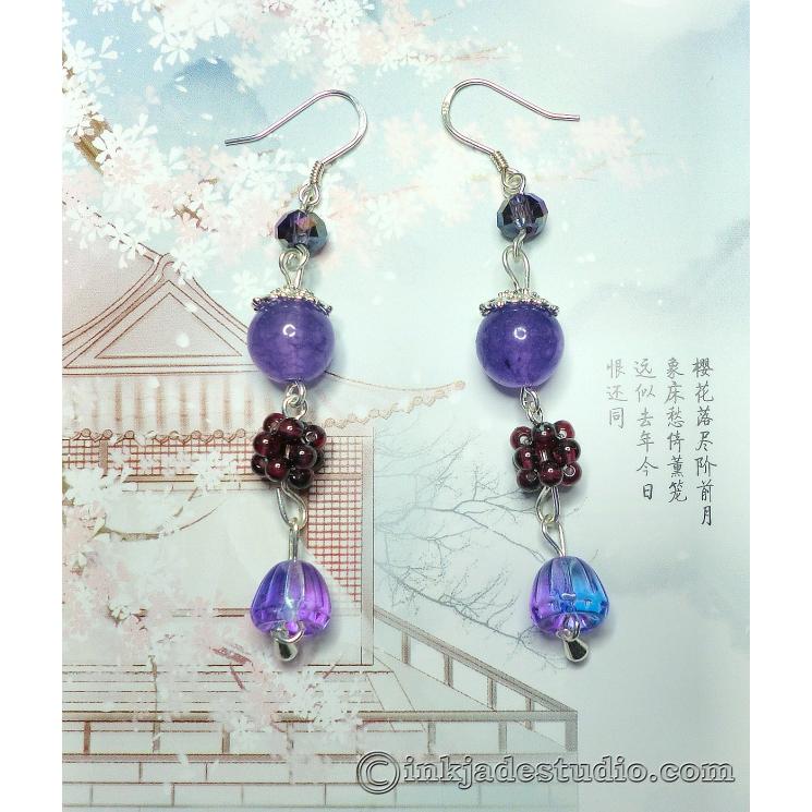 Handwoven Garnet Ball Earrings