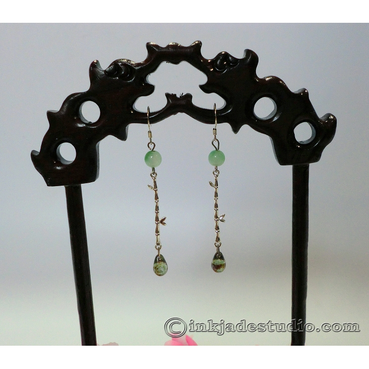 Green Jade Bamboo Earrings