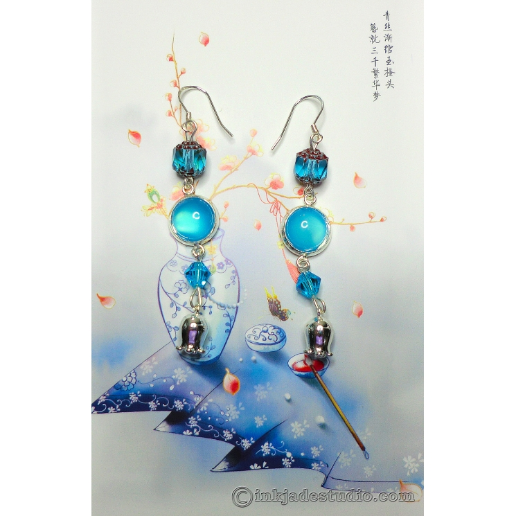 Blue Agate Lily of the Valley Earrings