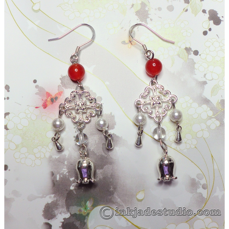 Red Agate and Pearl Chinese Silver Chandelier Earrings