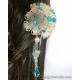 Blue Wooden Fan Flower Hair Stick with Aquamarine and Czech Glass