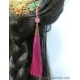 Golden Phoenix Comb with Green Agate Gourd and Dark Pink Tassel