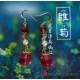 """Rose Red Chinese Character """"Lu"""" Glass Bead Earrings with Swarovski Pearls"""