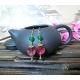 """Rose Red Chinese Character """"禄"""" Good Fortune Glass Bead Earrings with Green Agate"""