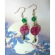 "Rose Red Chinese Character ""禄"" Good Fortune Glass Bead Earrings with Green Agate"