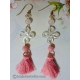 Carved Chinese Knot Shell Earrings with Lotus Beads and Tassels
