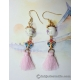 Chinese Porcelain Bead Earrings with Cloisonne Butterflies and Tassels