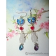 Chinese White Jade Vase Silver Earrings with  Cloisonne Butterflies