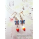 Chinese Cloisonne Butterfly Earrings with Pearls and Gradient Red Glass Drops