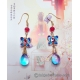 Chinese Cloisonne Butterfly Earrings with Czech Bicolor Glass Drops