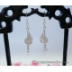 Cute White Carved Shell Bunny Earrings with Stars