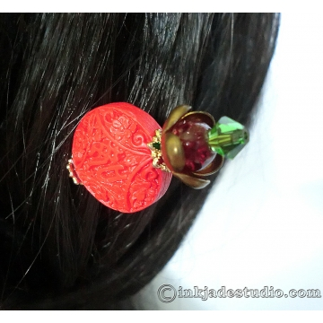 Red Auspicious Chinese Ruyi Cinnabar Bead Hair Stick Hair Pin