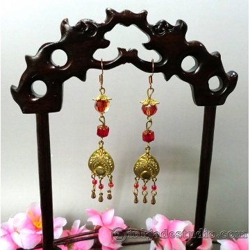 Chinese Red and Gold Peacock Feather Dangle Earrings