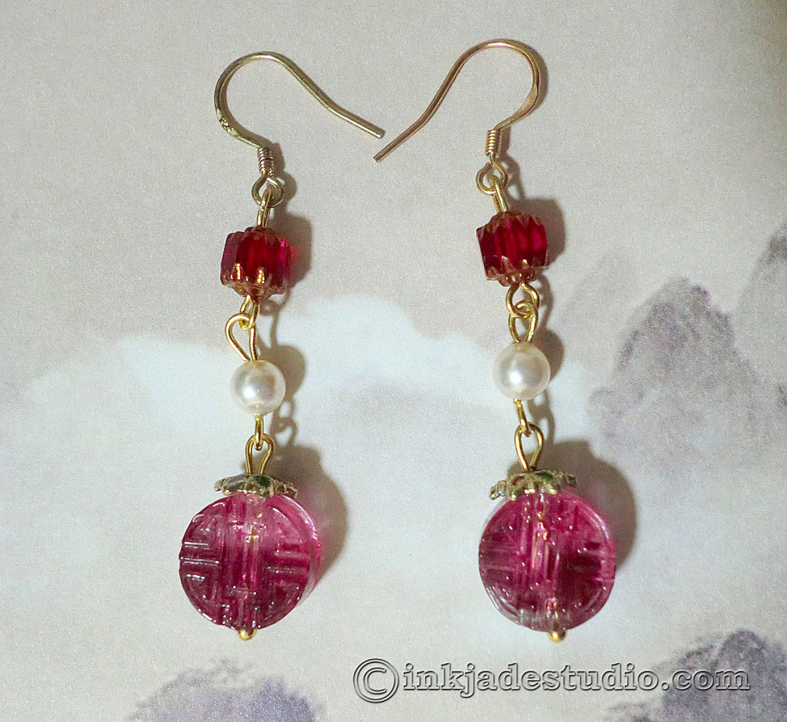 Rose Red Chinese Character Lu Gl Bead Earrings With Swarovski Pearls