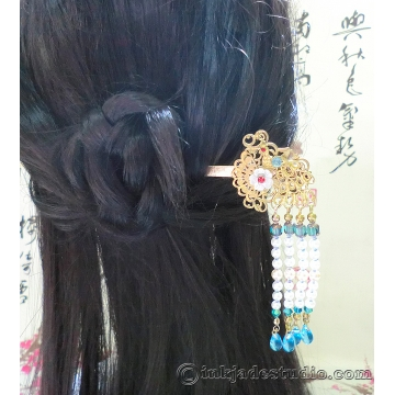 Chinese Peacock Hair-stick with Carved Shell Flower and Czech Glass Beaded Tassels