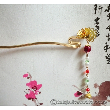 Chinese Curved Golden Chrysanthemum Fan Hair Stick Hair Pin