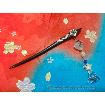Handpainted Inner-painting Bamboo Glass Bead Chinese Hair Stick