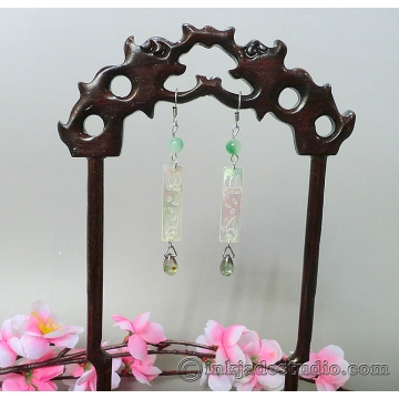 Lotus and Butterfly Carved Shell Mother of Pearl Plaque Chinese Earrings with Green Jade