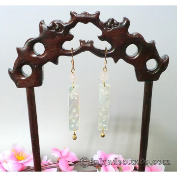 Cherry Blossom Carved Shell Mother of Pearl Plaque Chinese Earrings with Rose Quartz