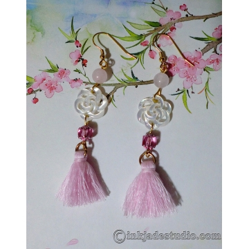Carved Chinese Lucky Flower Knot Shell Earrings with Pink Tassels