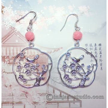 Chinese Bird on Plum Branch Silver Filigree Earrings