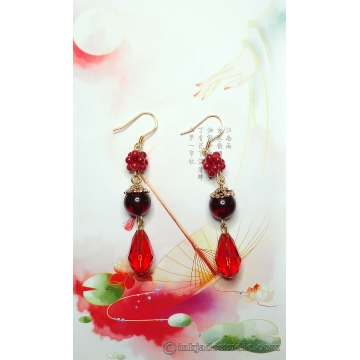 Handwoven Red Coral Balls and Amber Earrings