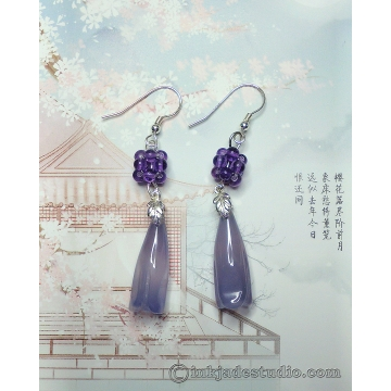 Blue Agate Chinese Magnolia Bud Earrings With Handwoven Amethyst Balls