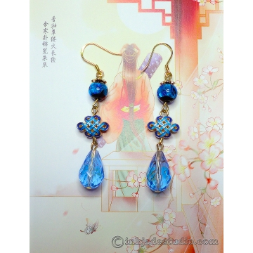 Handmade Silver Foil Glass Bead Earrings with Gold Plated Cloisonne Chinese Endless Knots