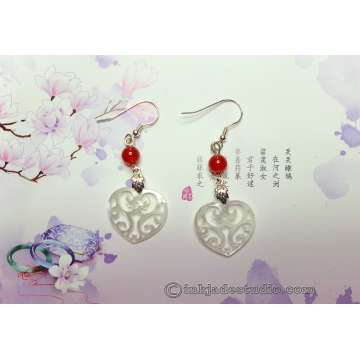 Carved Shell Filigree Hearts Earrings with Red Agate