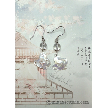 White Carved Shell Chinese Gourd Earrings