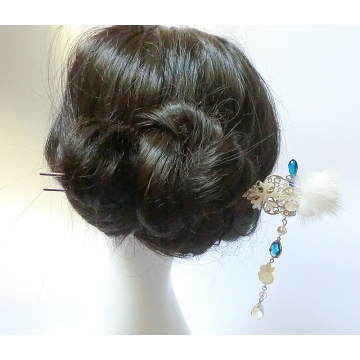 Winter Snowflake White Rabbit Chinese Hair stick Hair Pin